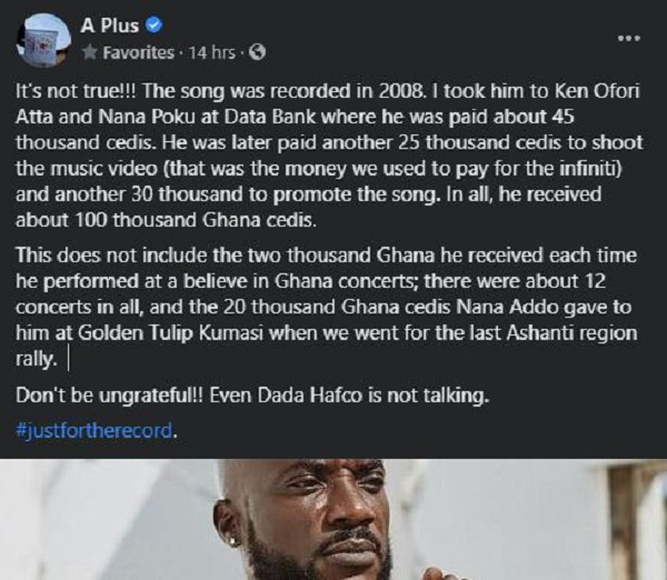 You received over GH¢100,000 for the NPP song – A Plus exposes Kwabena Kwabena. 48