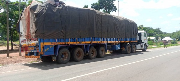 Trucks loaded with rosewoods impounded at Damongo. 49