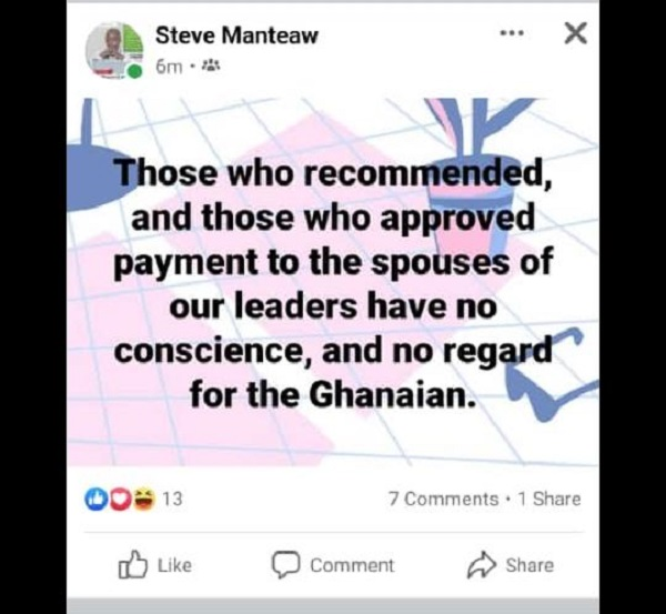 Recommenders and approvers of salaries to presidential spouses have no conscience – Dr Manteaw. 49