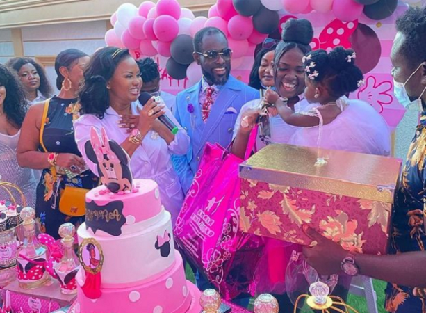 Tracey Boakye sprays bundles of cedi notes on her daughter at 1-year birthday bash