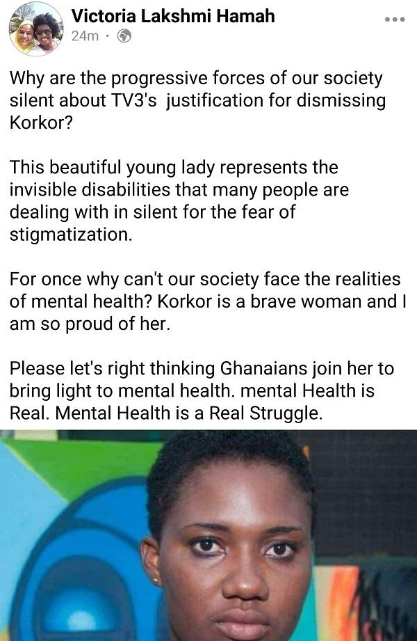 Victoria Hammah criticizes TV3's justification for dismissing Abena Korkor. 4