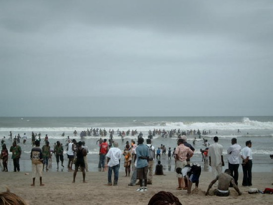 crowded beach (Labadi beach)