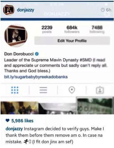 Nigerian Don Jazzy gets Instagram verification