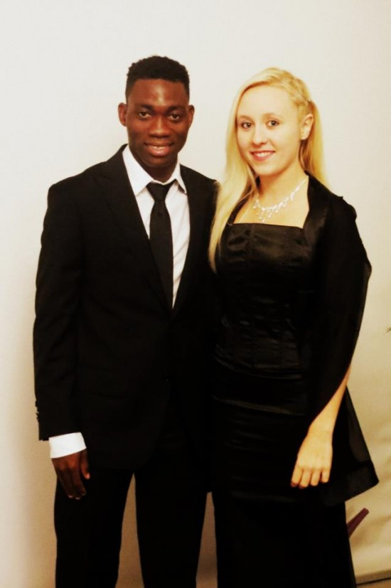 Christian Atsu with cool, beautiful, Wife Marie-Claire Rupio