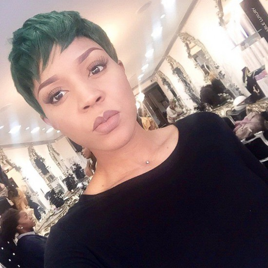 Try this gorgeous pixie cut look with a green weave the effect is cool and calm.