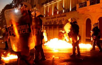 Greek protesters clash with police at anti-austerity march