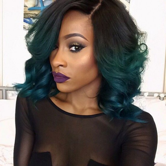 Try the green and black hue on a bob hairstyle, flip it out with a mint green hue in picture one or straighten it with a lemon and mint huelike in picture two.