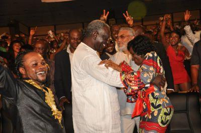 Nana Konadu, Rawlings and Kufuor dancing at Lumba Show