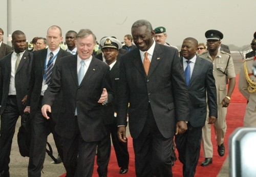 President Kufuor and President Kohler move towards the dais to take the National Salute of Ghana and Germany.