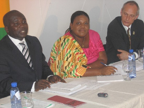 Hon. Dep. Min. of Local Gov. Rural Dev. & Env., Kofi Poku-Adusei, Mrs. Massiba, Asist. Dir. Local Gov., Rural Dev. & Env., Mr. Schilpand, Proj. Cor. GSFP