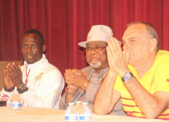 Ambassador Smith in middle flanked to the left by Emmanuel Agyemang Badu and Coach Avram Grant on right
