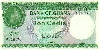 Ten Cedi Note in 1965
