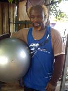 Ayitey Powers in the gym at Mamprobi Accra