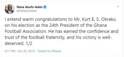 Akufo-Addo congratulates new GFA President Kurt Okraku
