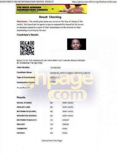 Kwesi Arthur's alleged WASSCE certificate pops up on the internet
