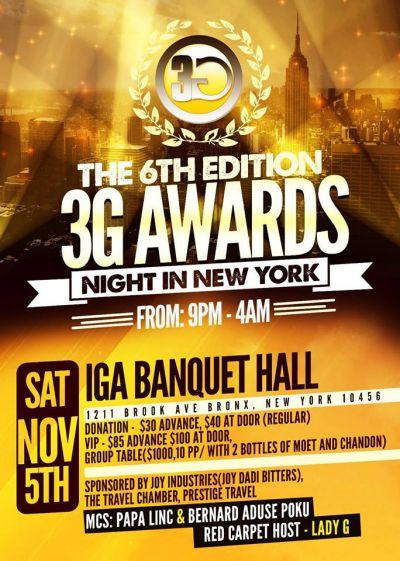 6th Annual 3G Awards 2016 in NY