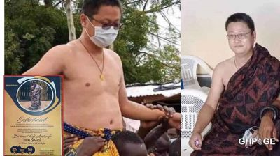 Social media reacts to the enstoolment of Chinese man as Chief at Kwahu Abetifi