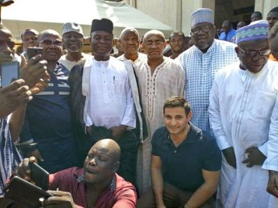 CAF President Ahmad Ahmad mobbed together with Nyantakyi at mosque in Ghana