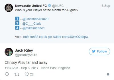 Newcastle fans back Christian Atsu to win Player of the Month award