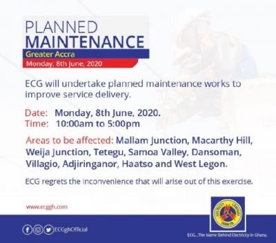 Parts of Accra to go off national grid for 7 hours from today