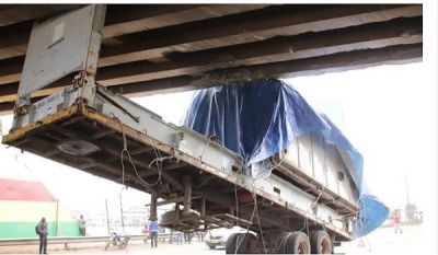 Overloaded truck damages portions of Ashaiman overpass