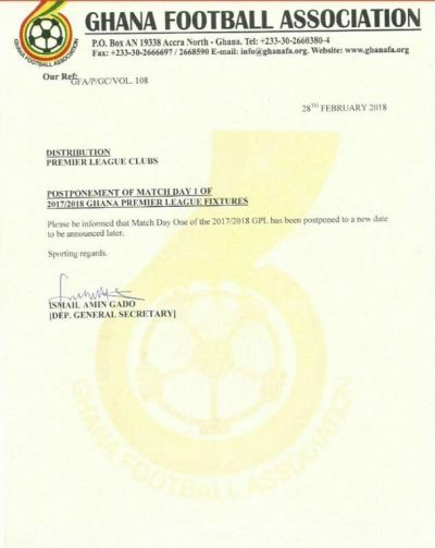 Ghana FA postpones league indefinitely again