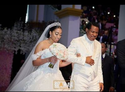 White wedding photos of Pastor Chris' daughter and her Ghanaian husband