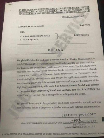 Anas' lawyer speaks on La Dadekotopon land saga