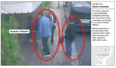 Surveillance footage shows Saudi operative in Khashoggi's clothes after he was killed