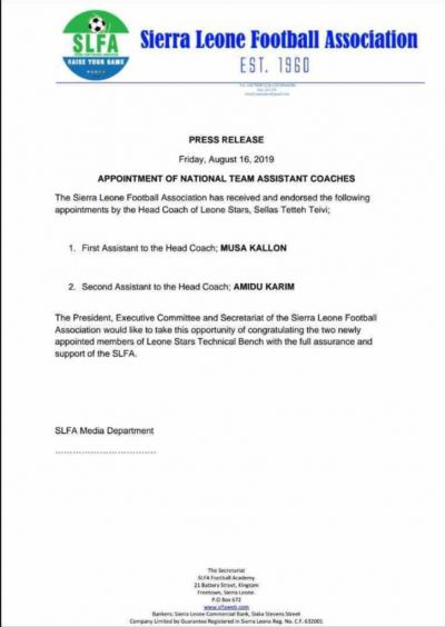 Sierra Leone FA firm on Sellas Tetteh appointment; name his deputies