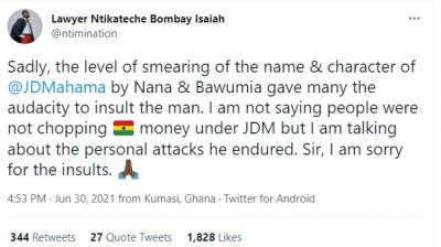 'I'm sorry for the insults' – Lawyer Nti apologises to Mahama
