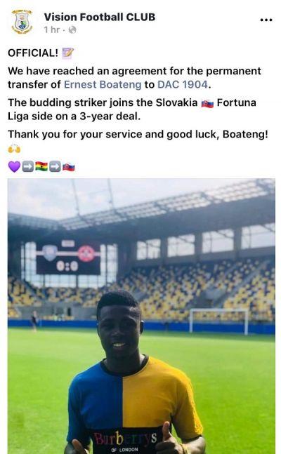 Vision FC's Ernest Boateng joins Slovakian side DAC FC