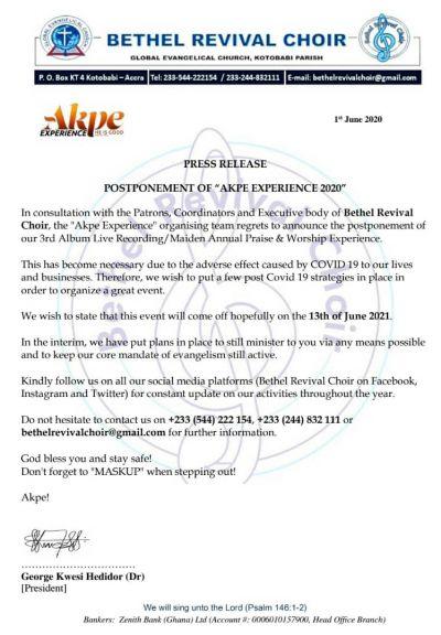 Bethel Revival Choir postpones 3rd album live recording
