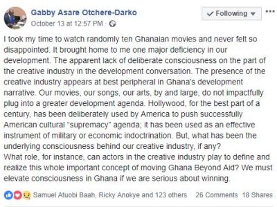 Gabby Otchere-Darko expresses disappointment in Ghanaian movies