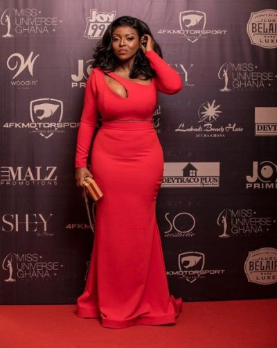 Yvonne Okoro slays in her red dress at the grand finale of Miss Universe Ghana
