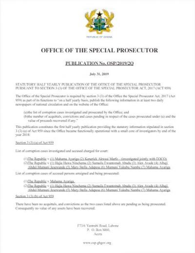 Special Prosecutor publishes list of cases being prosecuted