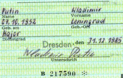 Putin's Stasi spy ID pass found in Germany